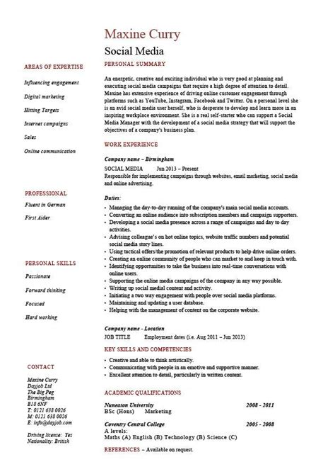 Social Media Manager Resume by Social Media Resume Coordinator Specialist Exle