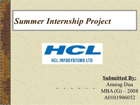Hcl Summer Internship 2015 For Mba by Hcl Infosystem