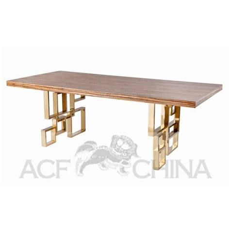 stainless steel dining table with wood top acf china
