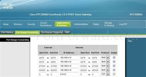 port range forwarding how to open a port on the cisco epc3928ad