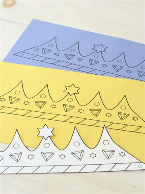 How To Make Crowns Out Of Construction Paper - printable purim crown coloring crafts