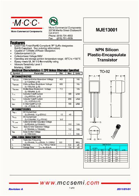 transistor mje13001 mje13001 6961860 pdf datasheet ic on line