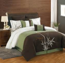 Olive Green Duvet Cover 12 Piece Queen Bamboo Embroidered Bed In A Bag W 500tc