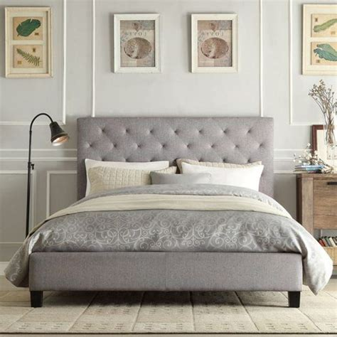 gray tufted bed frame home pinterest