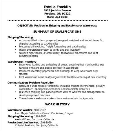 resume examples for warehouse worker