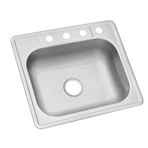 Glacier Bay Kitchen Sinks Glacier Bay Drop In Stainless Steel 25 In 4 Single Bowl Kitchen Sink Hdsb252274 The Home