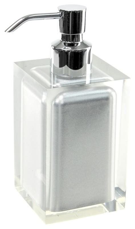 Modern Bathroom Countertop Accessories Square Countertop Soap Dispenser Silver Modern
