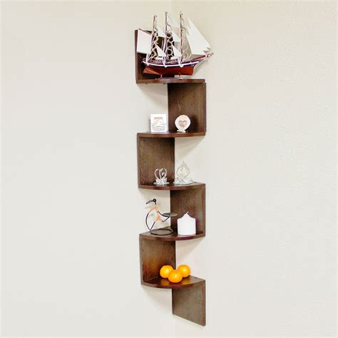 large zig zag 5 level corner wall mount shelf in walnut
