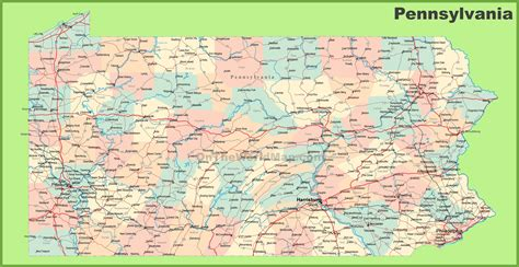 pennsylvania on map of usa pennsylvania state map with cities afputra