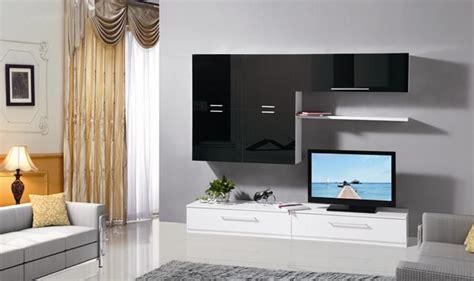 mobile soggiorno parete attrezzata mdf bianco  nero