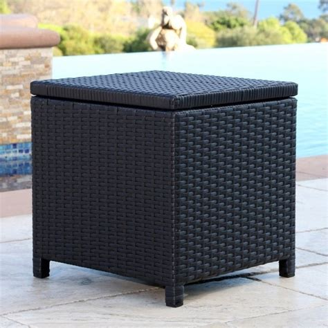 abbyson living carlsbad outdoor wicker storage ottoman in black dl rsf004 blk