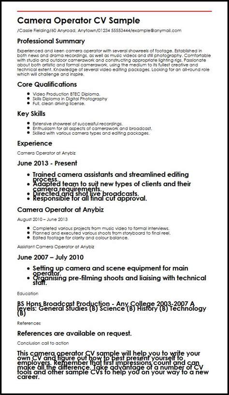 Cameraman Resume Format by Operator Cv Sle Myperfectcv