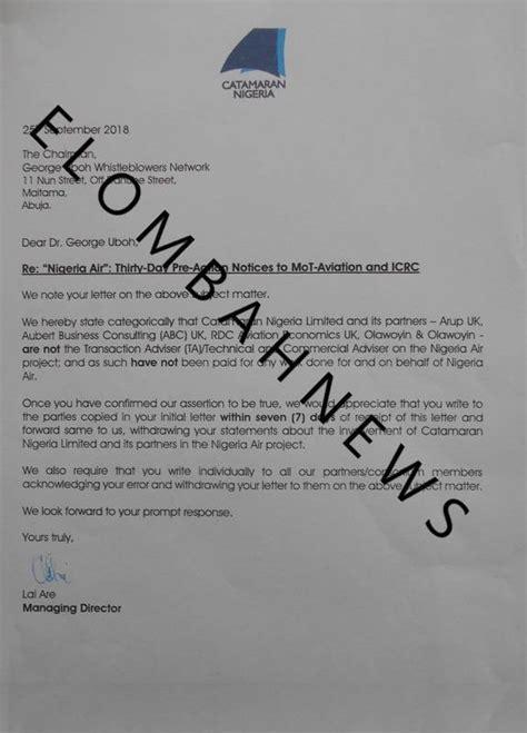 catamaran nigeria limited purported nigeria air partners deny any deal with sirika