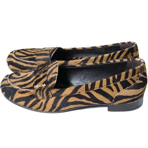 zebra loafers prada pony fur zebra loafers animal print shoes 37 5 for