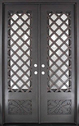 trellis square top prehung iron double door unit