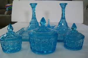 vintage antique blue glass vanity set with registration