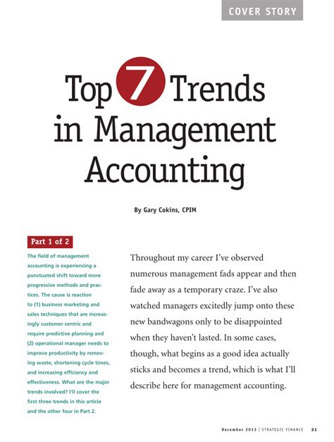 Seven Major Jewelry Market Trends by The Top Seven Trends In Management Accounting Pdf