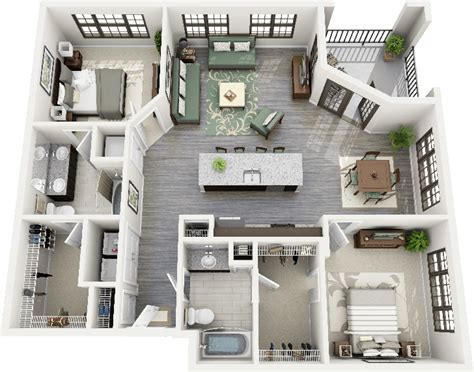 """50 Two """"2"""" Bedroom Apartment/House Plans   Apartments, 3d"""