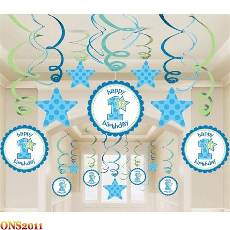 the house decorations for the babies first birthday party baby boy 1st birthday party mega value pack swirl ceiling