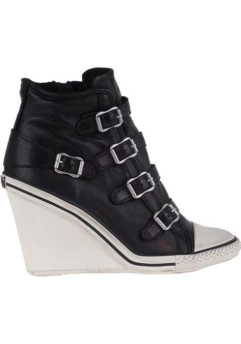 wedge sneakers black ash thelma leather wedge sneakers in black lyst