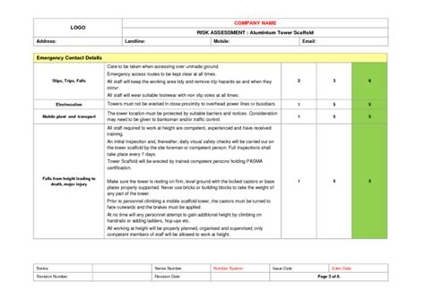 Tower Scaffold Erection Risk Assessment Exle To Download Scaffolding Plan Template