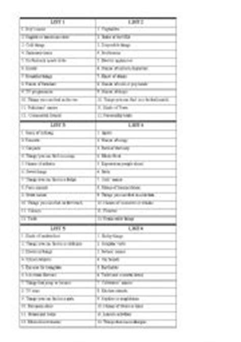 printable scattergories dice english teaching worksheets scattergories