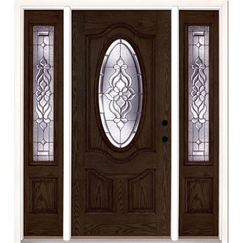 Feather River Exterior Doors Feather River Doors 67 5 In X 81 625 In Mission Pointe Zinc Lite Unfinished Smooth