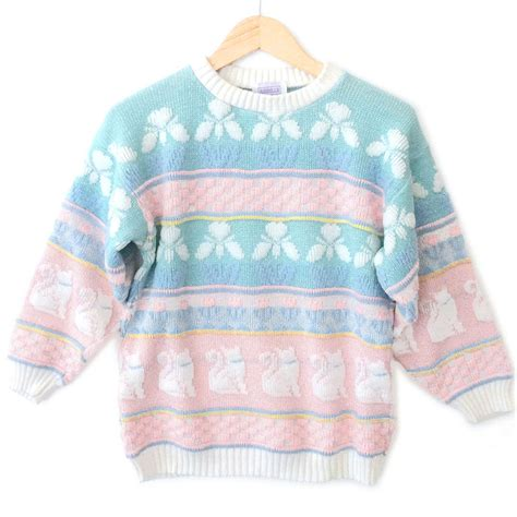 sweater vintage vintage 80s sparkle cats pastel tacky sweater the