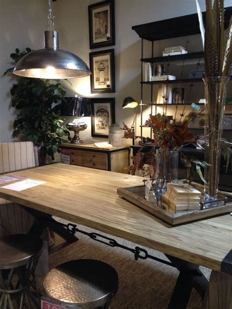 and rustic wood dining table industrial kitchen