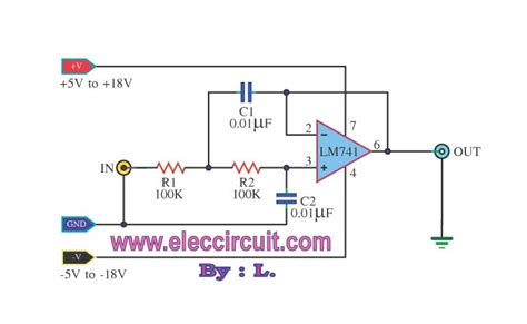 high pass filter subwoofer low pass filter circuit 10khz using ua741 electronic projects circuits