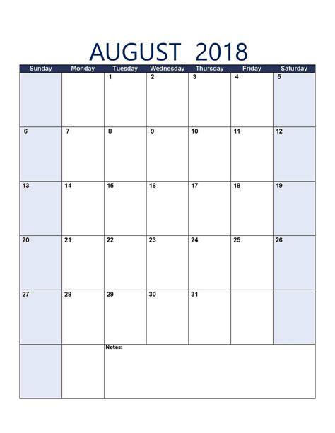 august 2018 calendar free printable calendar templates