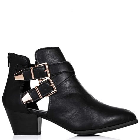 Cut Out Boots by Buy Jasper Block Heel Western Ankle Boots Black Leather