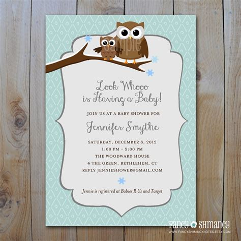 Winter Owl Baby Shower Invitations by Winter Baby Shower Invitation Owl Baby Shower Invitation