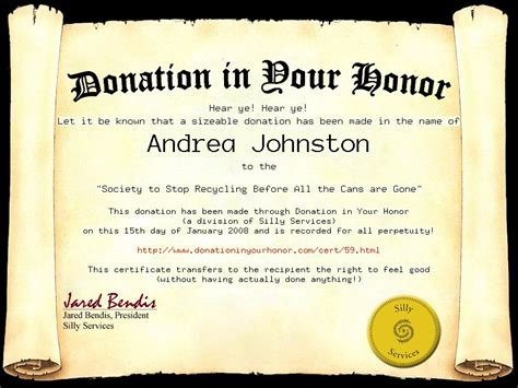 Donation In Your Honor A Donation Has Been Made In Your Honor Template