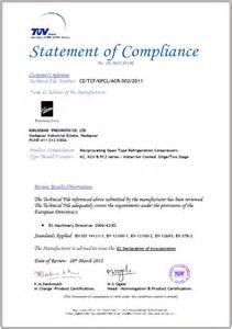 compliance statement template ce certificate kirloskar pneumatic company ltd