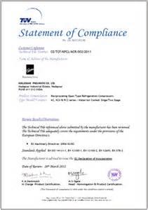 Compliance Statement Template by Ce Certificate Kirloskar Pneumatic Company Ltd