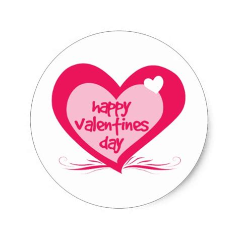 valentines day stickers happy valentines day classic sticker zazzle