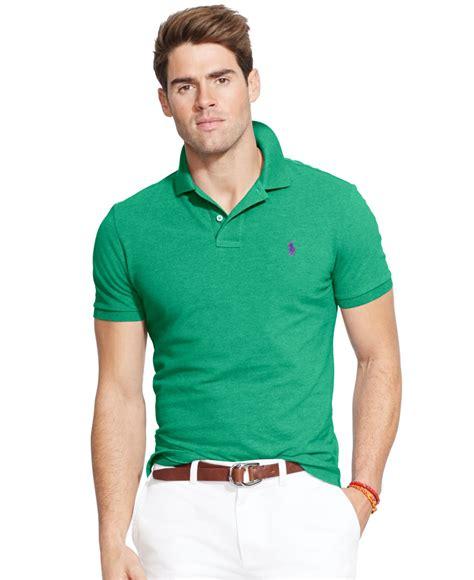 Polo Shirt Polo Raphl Custom Tshirt Polo polo ralph custom fit mesh polo shirt in green for lyst