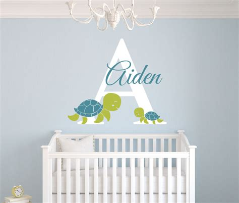 Personalized Name Wall Decals For Nursery Personalized Turtles Name Wall Decal Room Nursery Wall Decal Vinyl Sticker 22x26inch In Wall