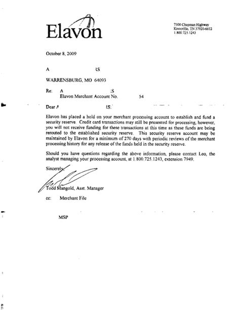 cancellation of account letter ripoff report elavon merchant services