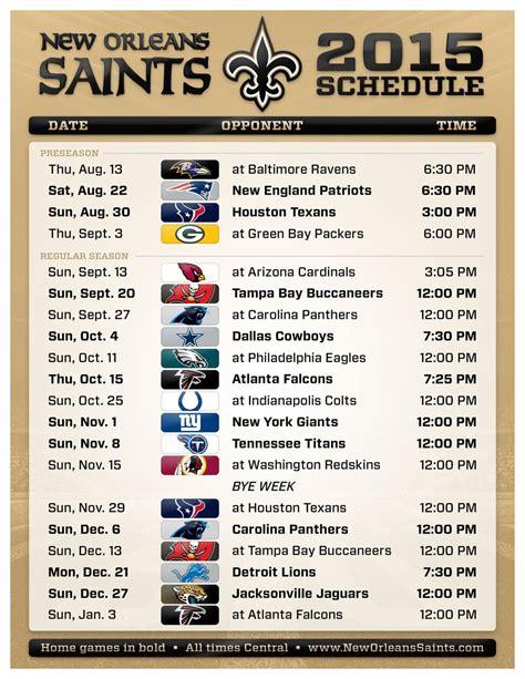printable schedule d 2015 the 2015 new orleans saints preseason and regular season