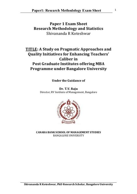 Paper Courses - paper 1 phd course work research methodology