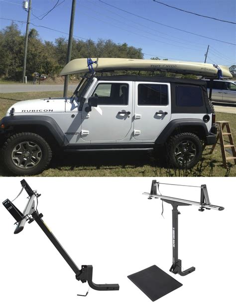 jeep kayak rack rhino rack t load hitch mounted load assist and support