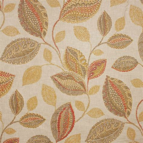 Curtain And Upholstery Fabrics by Oakley Spice Embroidered Leaf Curtain Fabric Closs Hamblin