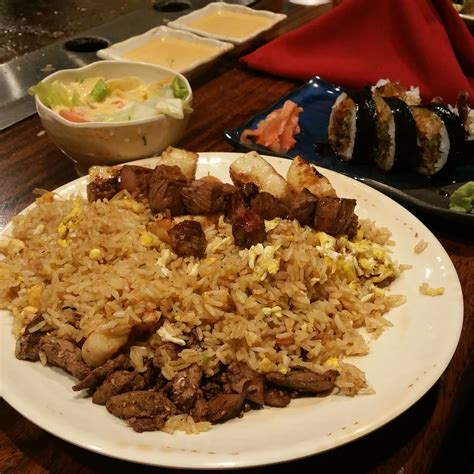 sakura japanese steak house combination steak scallops and shrimp with a spider roll of sushi yelp
