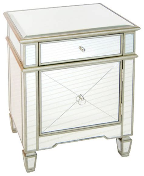 Silver Leaf Nightstand Worlds Away Mirrored Nightstand Silver Leaf Traditional Nightstands And Bedside Tables By