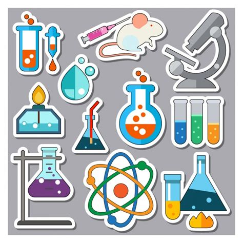 science elements stickers collection vector free