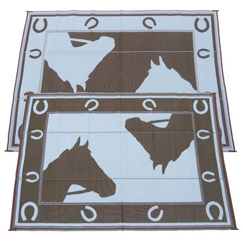 Outdoor Rv Rugs by Fireside Patio Mats Chocolate Horseshoe 9 Ft X 12 Ft