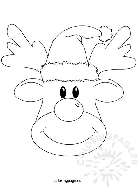 reindeer template to colour reindeer christmas printable coloring page