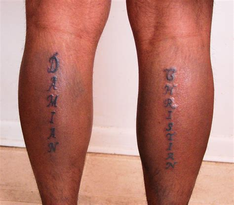 tattoo on leg names on legs tattoos by wright